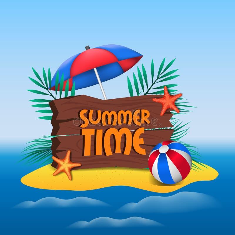 Γειά σου τροπικές διακοπές διακοπών νησιών άμμου θερινού χρόνου με τη θάλασσα με το μπαλόνι και την ομπρέλα με το ξύλινο έμβλημα ελεύθερη απεικόνιση δικαιώματος