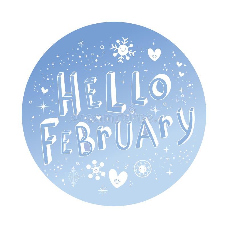 Γειά σου Φεβρουάριος ελεύθερη απεικόνιση δικαιώματος
