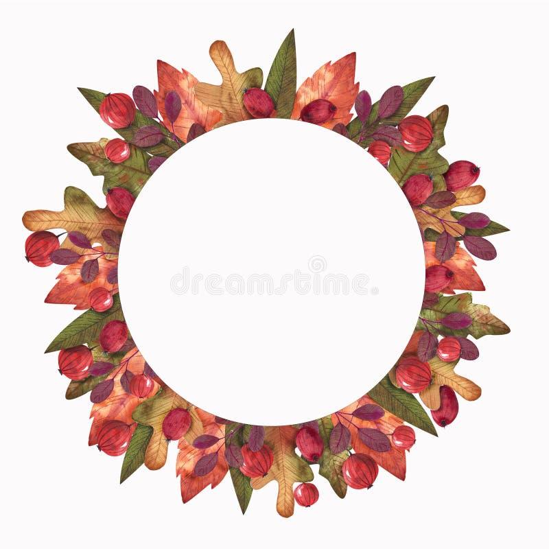 Γειά σου φθινόπωρο Στεφάνι Watercolor ελεύθερη απεικόνιση δικαιώματος