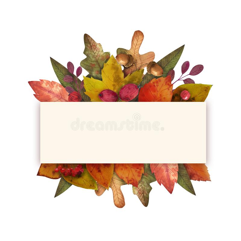 Γειά σου φθινόπωρο Το Watercolor αφήνει το πλαίσιο στοκ φωτογραφία