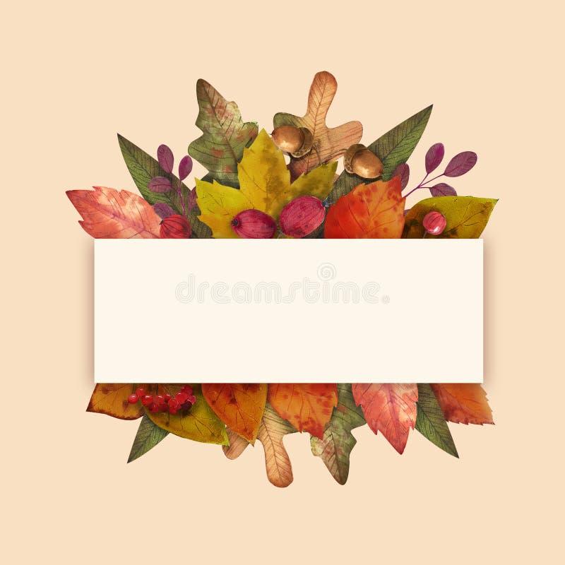 Γειά σου φθινόπωρο Το Watercolor αφήνει το πλαίσιο στοκ εικόνες με δικαίωμα ελεύθερης χρήσης