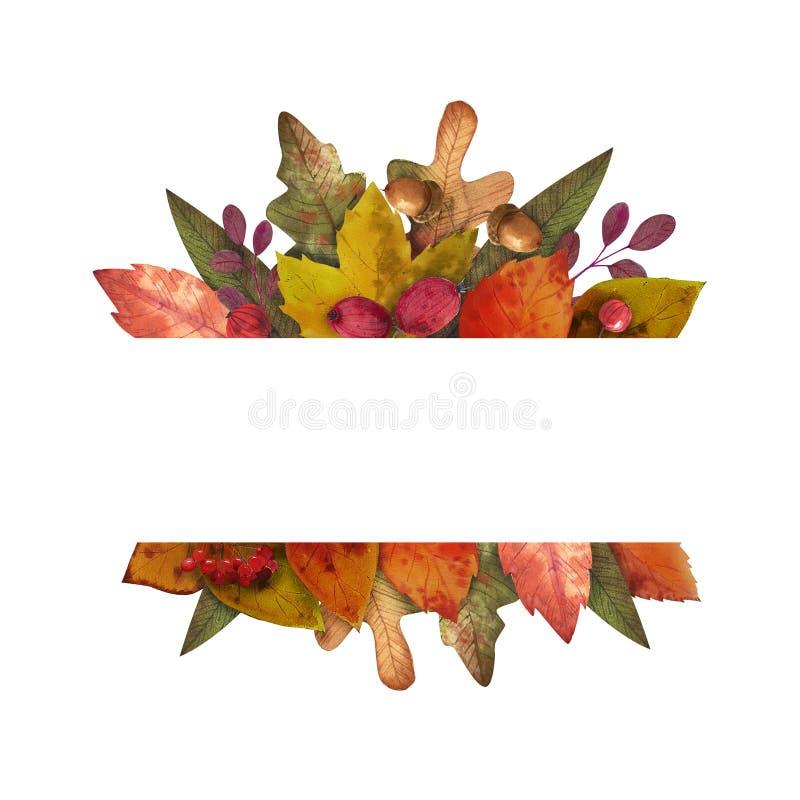 Γειά σου φθινόπωρο Το Watercolor αφήνει το πλαίσιο στοκ εικόνα