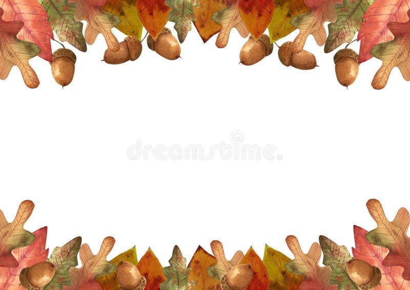 Γειά σου φθινόπωρο Το Watercolor αφήνει το πλαίσιο διανυσματική απεικόνιση