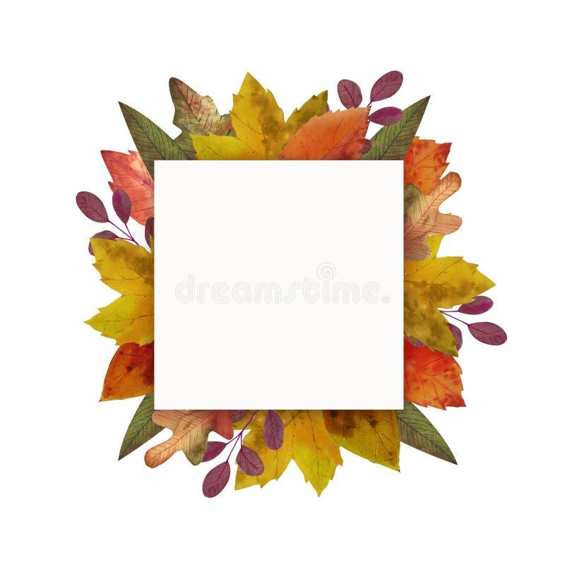 Γειά σου φθινόπωρο Το Watercolor αφήνει το πλαίσιο απεικόνιση αποθεμάτων