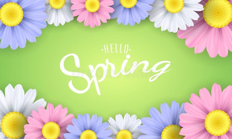 Γειά σου φράση ανοίξεων Εποχιακή αφίσα Πολύχρωμα camomile λουλούδια σε ένα πράσινο υπόβαθρο επίσης corel σύρετε το διάνυσμα απεικ απεικόνιση αποθεμάτων