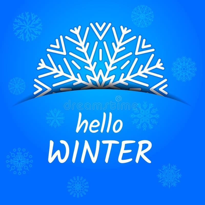 Γειά σου χειμερινή κάρτα ελεύθερη απεικόνιση δικαιώματος