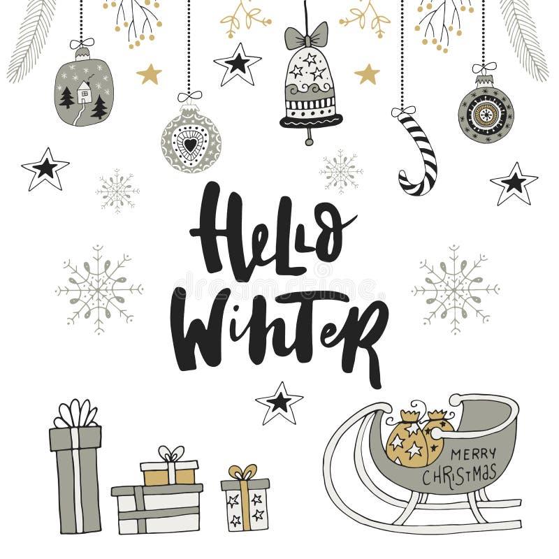 Γειά σου χειμώνας - συρμένη χέρι κάρτα Χριστουγέννων με την εγγραφή και τις διακοσμήσεις Χαριτωμένη νέα τέχνη συνδετήρων έτους επ διανυσματική απεικόνιση
