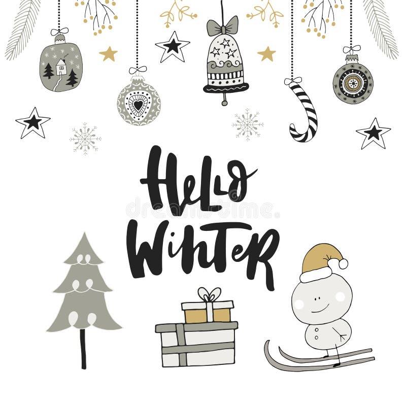 Γειά σου χειμώνας - συρμένη χέρι κάρτα Χριστουγέννων με την εγγραφή και τη διακόσμηση Χαριτωμένη νέα τέχνη συνδετήρων έτους επίση απεικόνιση αποθεμάτων
