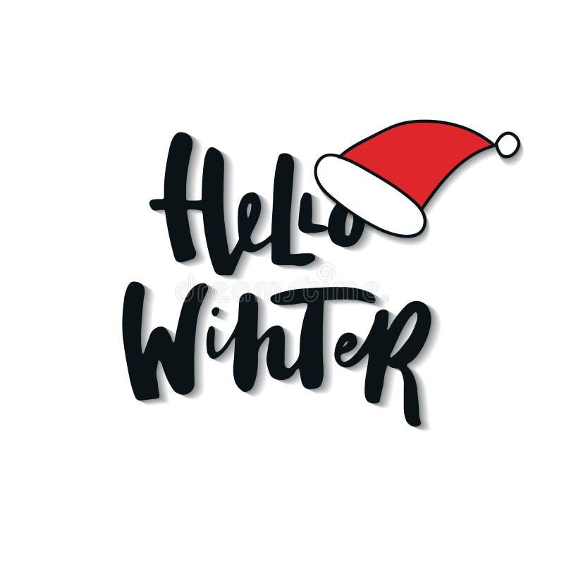 Γειά σου χειμώνας - Χριστούγεννα και νέο καπέλο φράσης και santa έτους διανυσματική απεικόνιση