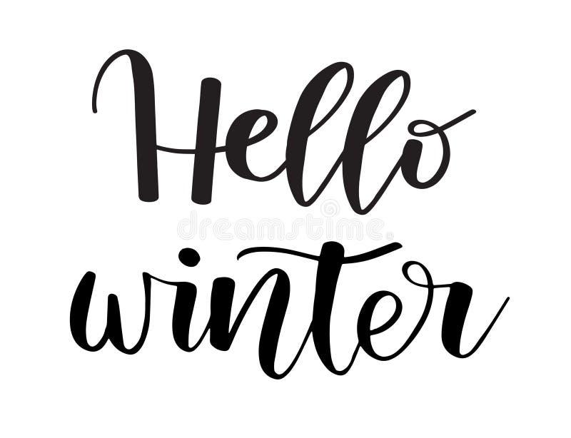 Γειά σου χειμώνας Χρωματισμένη βούρτσα επιγραφή εγγραφής χεριών στη ευχετήρια κάρτα χειμερινών διακοπών διανυσματική απεικόνιση