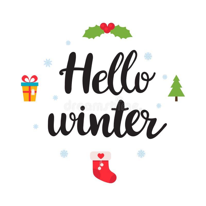 Γειά σου χειμώνας Όμορφη αφίσα με snowflakes, το γκι Χριστουγέννων, το δώρο και το χειρόγραφο κείμενο Αστείο διανυσματικό υπόβαθρ απεικόνιση αποθεμάτων