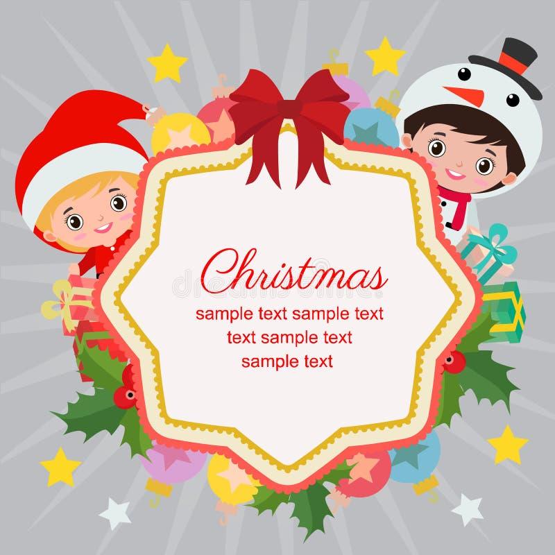 Γειά σου Χριστούγεννα με τα παιδιά και το santa χιονανθρώπων ελεύθερη απεικόνιση δικαιώματος