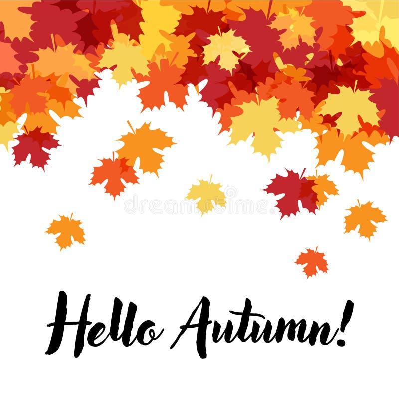 Γειά σου όμορφο διακοσμητικό υπόβαθρο φθινοπώρου διανυσματική απεικόνιση