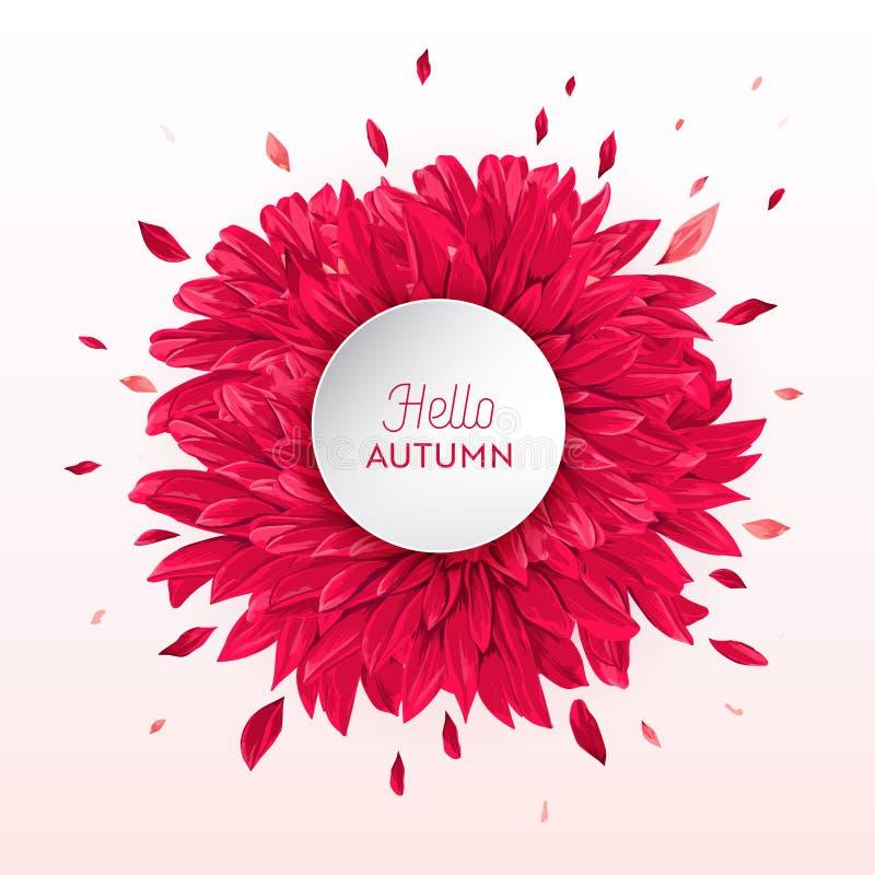 Γειά σου Floral σχέδιο Watercolor φθινοπώρου με το φύλλο σφενδάμου Εποχιακό έμβλημα πτώσης, αφίσα, τυπωμένη ύλη, πώληση, πρότυπο  ελεύθερη απεικόνιση δικαιώματος