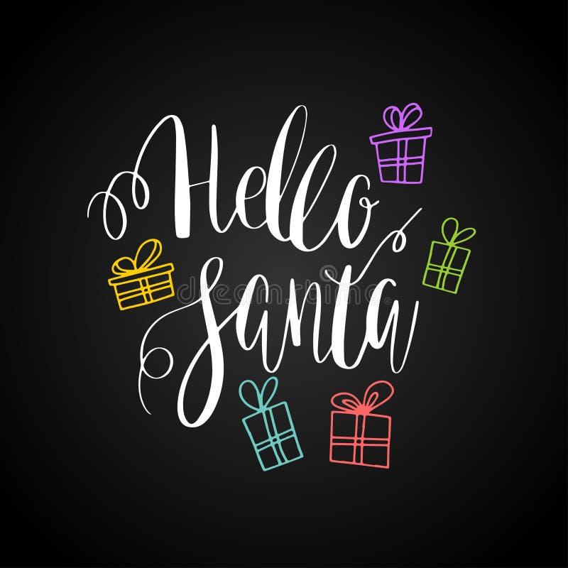 γειά σου santa Διανυσματική ευχετήρια κάρτα με γραπτά χέρι καλλιγραφικά γράφοντας snowflakes φράσης, τα παρόντα κιβώτια και τα τό διανυσματική απεικόνιση