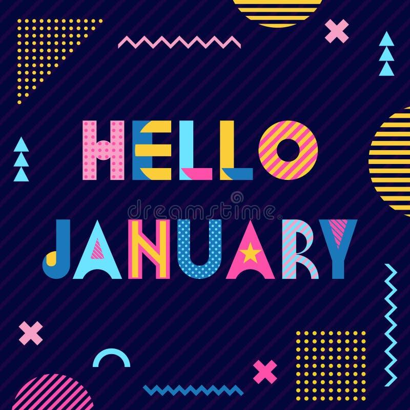 Γεια σας, Ιανουάριος Trendy γεωμετρική γραμματοσειρά στο στυλ memphis 80s-90s Κείμενο και αφηρημένα γεωμετρικά σχήματα σε ραβδωτό απεικόνιση αποθεμάτων