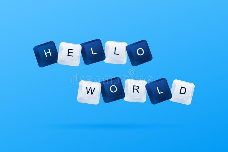ΓΕΙΑ ΣΟΥ ΠΑΓΚΟΣΜΙΟ μήνυμα από ένα πρώτο πρόγραμμα υπολογιστών ΓΕΙΑ ΣΟΥ λέξη ΠΑΓΚΟΣΜΙΩΝ μηνυμάτων που γράφεται με τα κουμπιά υπολο διανυσματική απεικόνιση