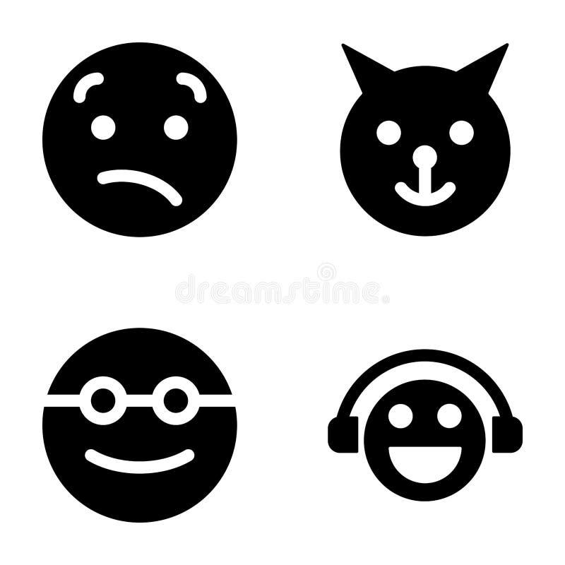 Γεμισμένα Emoticons εικονίδια διανυσματική απεικόνιση