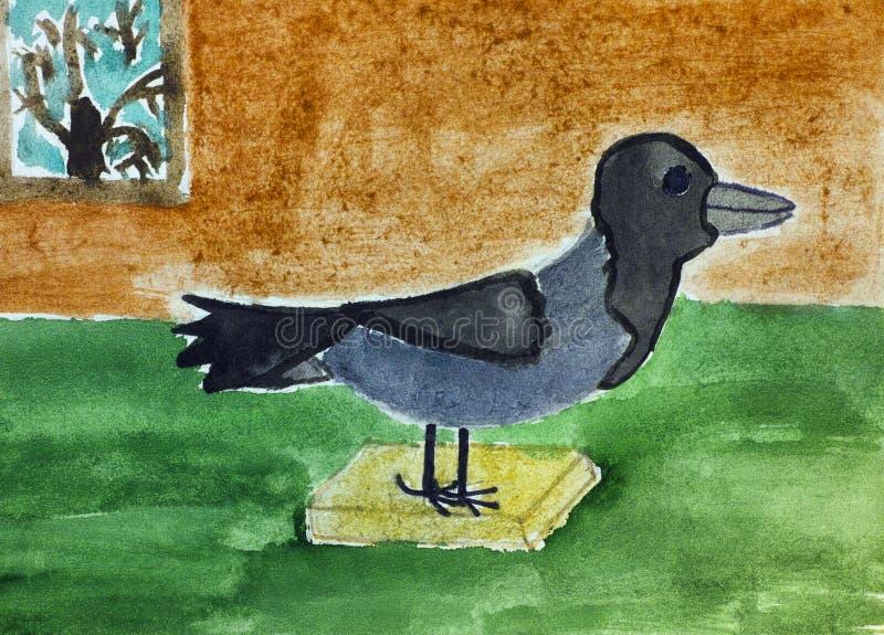 Γεμισμένος κόρακας Σχέδιο χεριών παιδιών watercolour διανυσματική απεικόνιση
