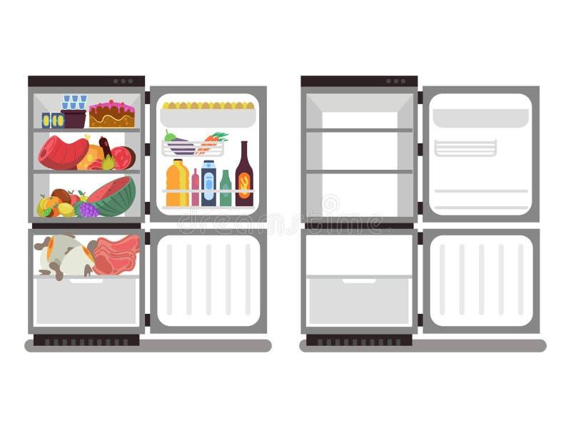 Γεμισμένος με τα τρόφιμα και το κενό διάνυσμα ψυγείων απεικόνιση αποθεμάτων