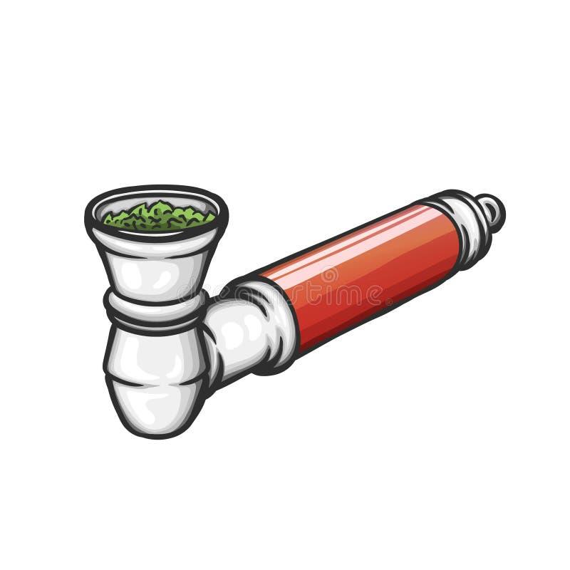 Γεμισμένος σωλήνας μετάλλων για το καπνίζοντας ζιζάνιο διανυσματική απεικόνιση