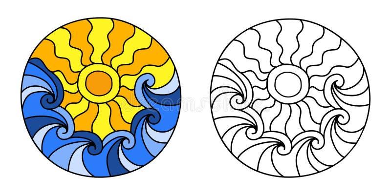 Γεμισμένος Doodles κύκλος με τα κύματα και τον ήλιο θάλασσας απεικόνιση αποθεμάτων