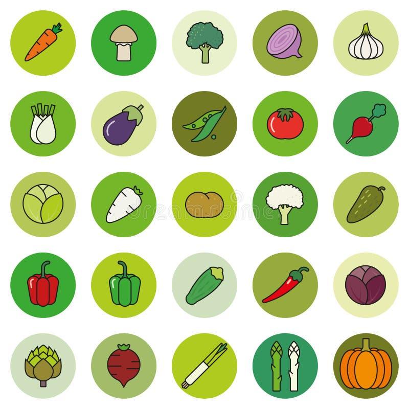 Γεμισμένο λαχανικά σύνολο εικονιδίων περιλήψεων διανυσματικό ελεύθερη απεικόνιση δικαιώματος