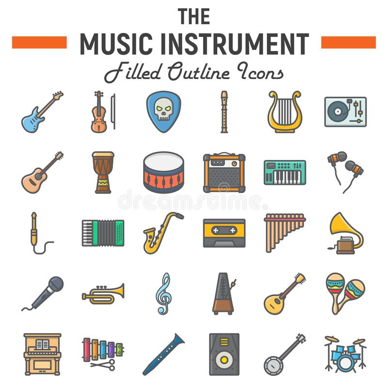 Γεμισμένο σύνολο εικονιδίων περιλήψεων μουσικής όργανα απεικόνιση αποθεμάτων