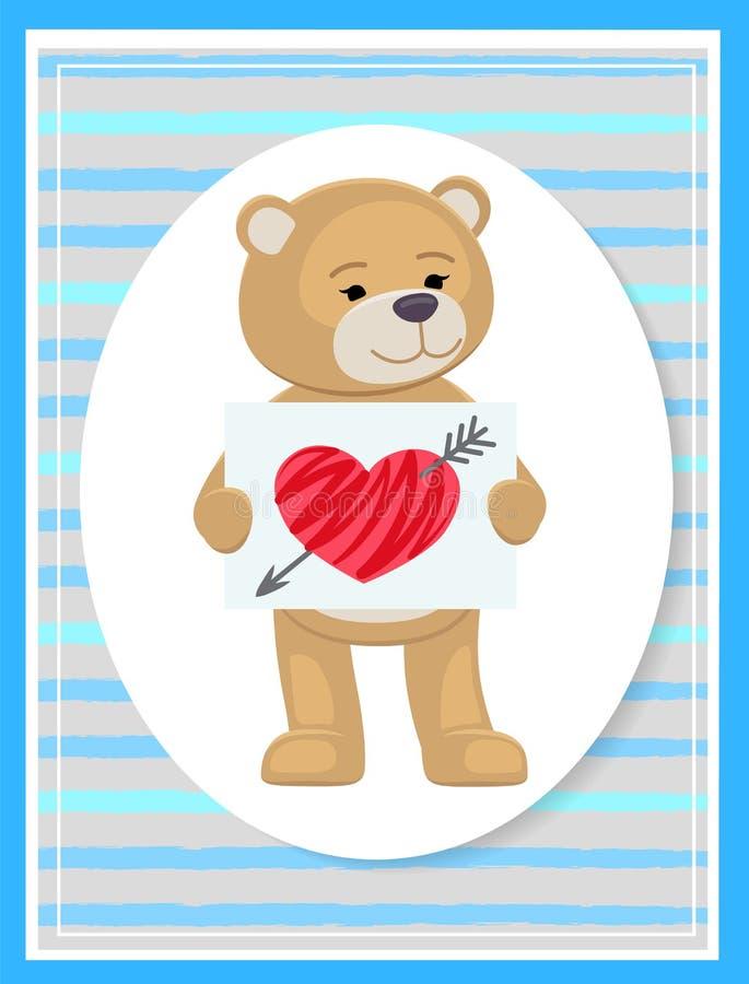 Γεμισμένο Teddy με το φύλλο του εγγράφου και της σπασμένης καρδιάς ελεύθερη απεικόνιση δικαιώματος