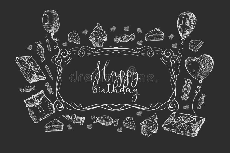 γενέθλια ανασκόπησης ε&upsilon Σύνολα γενεθλίων Doodles, εκρήξεις κομμάτων, καπέλα κομμάτων, κιβώτια δώρων και τόξα επίσης corel  απεικόνιση αποθεμάτων