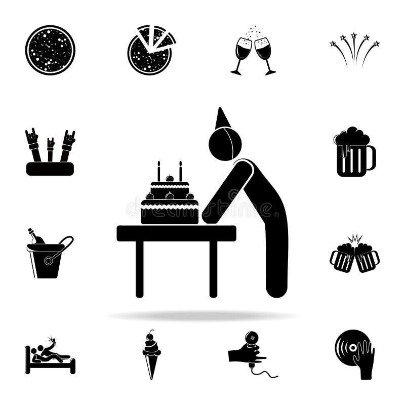 γενέθλια με το εικονίδιο κέικ Καθολικό εικονιδίων κόμματος που τίθεται για τον Ιστό και κινητό ελεύθερη απεικόνιση δικαιώματος