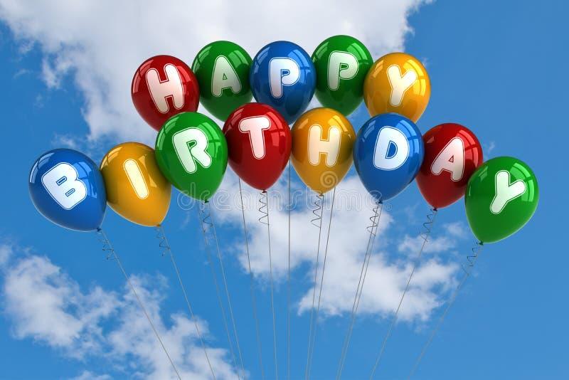 γενέθλια μπαλονιών ευτυχή απεικόνιση αποθεμάτων