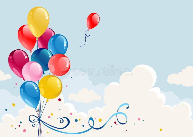 γενέθλια μπαλονιών ελεύθερη απεικόνιση δικαιώματος