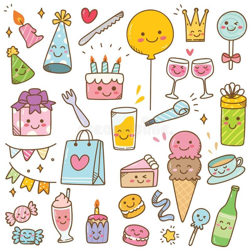 Γενέθλια ύφους Kawaii doodle που απομονώνονται στο άσπρο υπόβαθρο διανυσματική απεικόνιση