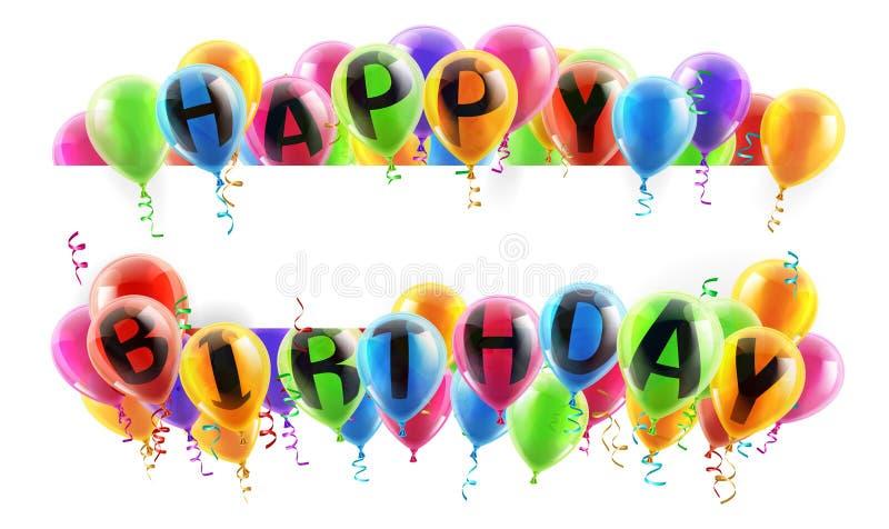 γενέθλια εμβλημάτων μπαλονιών ευτυχή απεικόνιση αποθεμάτων