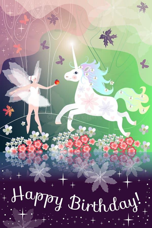 γενέθλια ευτυχή Όμορφη ευχετήρια κάρτα με το κορίτσι και το μονόκερο νεράιδων στο μαγικό δάσος ελεύθερη απεικόνιση δικαιώματος