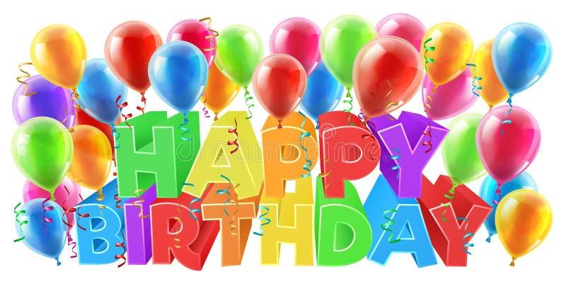 γενέθλια μπαλονιών ευτυχή ελεύθερη απεικόνιση δικαιώματος