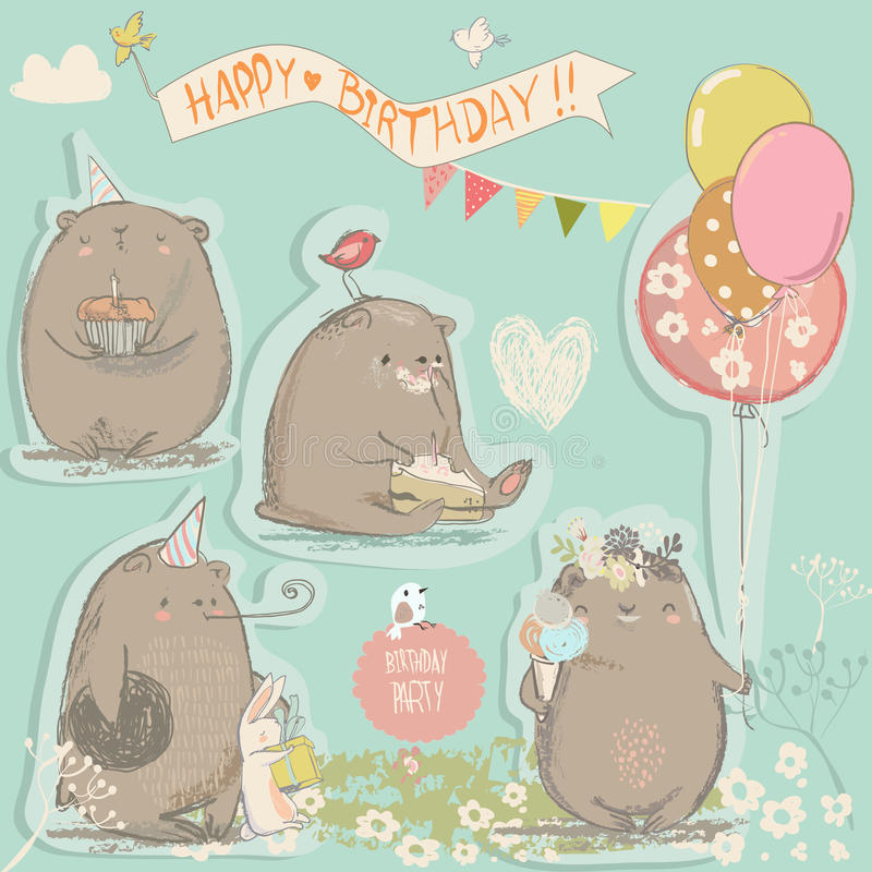 Γενέθλια που τίθενται με τις χαριτωμένες αρκούδες διανυσματική απεικόνιση