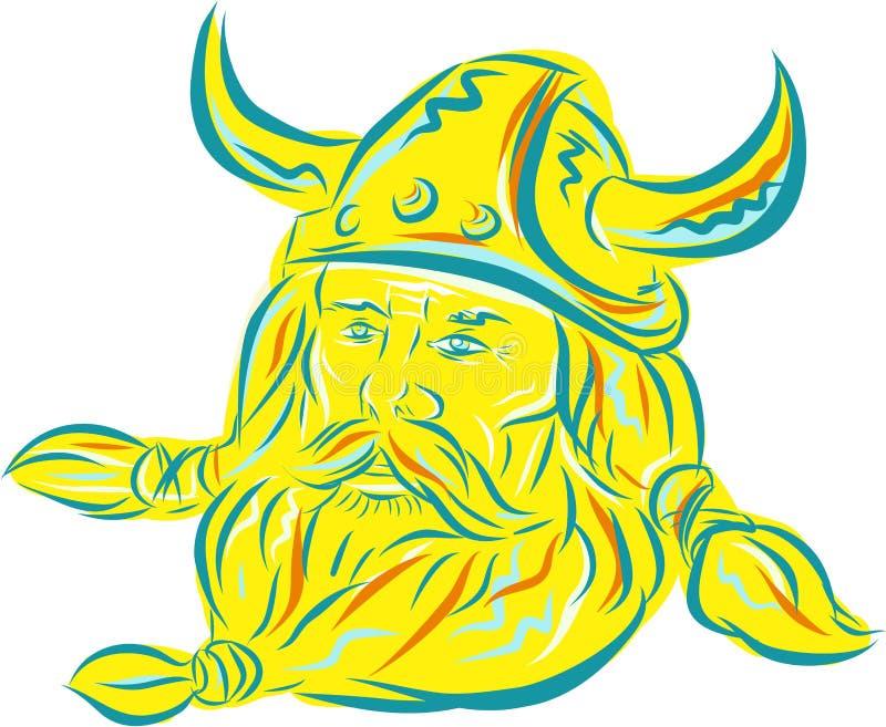 Γενειάδα χαρακτική Βίκινγκ Norseman διανυσματική απεικόνιση
