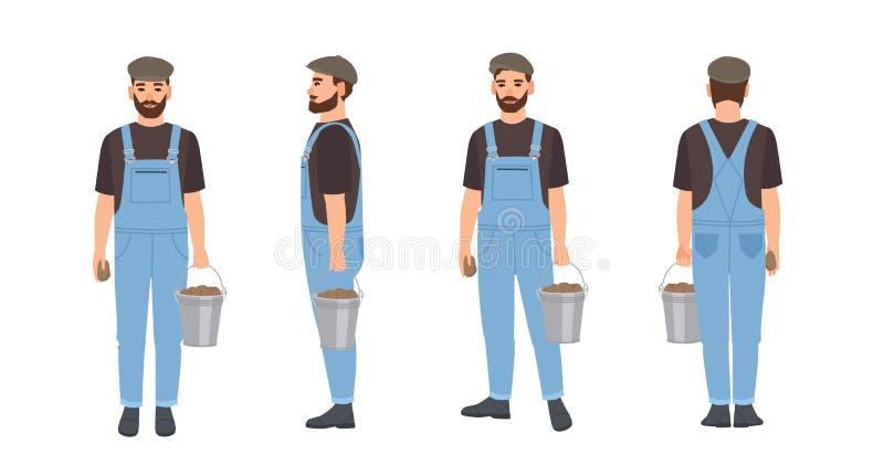Γενειοφόρος αγρότης που απομονώνεται στο άσπρο υπόβαθρο Γεωργικός εργαζόμενος που φορά τα dungarees και την ΚΑΠ, σύνολο κάδων μετ διανυσματική απεικόνιση