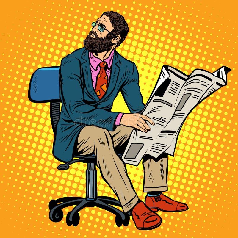 Γενειοφόρος επιχειρηματίας που διαβάζει μια εφημερίδα απεικόνιση αποθεμάτων