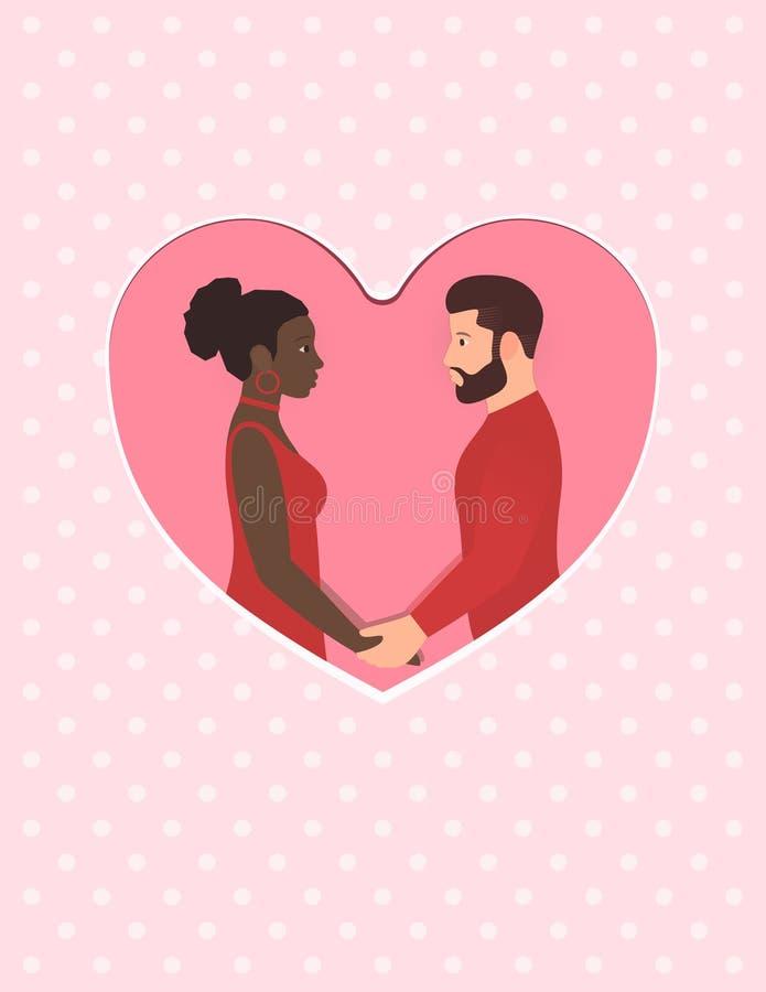 Γενειοφόρος λευκός και όμορφη αμερικανική γυναίκα afro Ευτυχές πολυφυλετικό ζεύγος ερωτευμένο, κράτημα των χεριών και να εξετάσει ελεύθερη απεικόνιση δικαιώματος