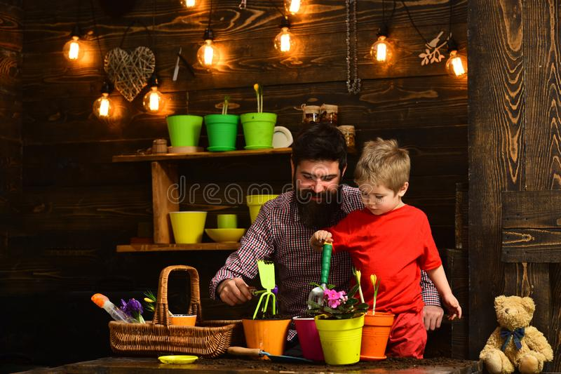 Γενειοφόρος φύση αγάπης παιδιών ατόμων και μικρών παιδιών Πότισμα προσοχής λουλουδιών Εδαφολογικά λιπάσματα ευτυχείς κηπουροί με  στοκ φωτογραφία με δικαίωμα ελεύθερης χρήσης