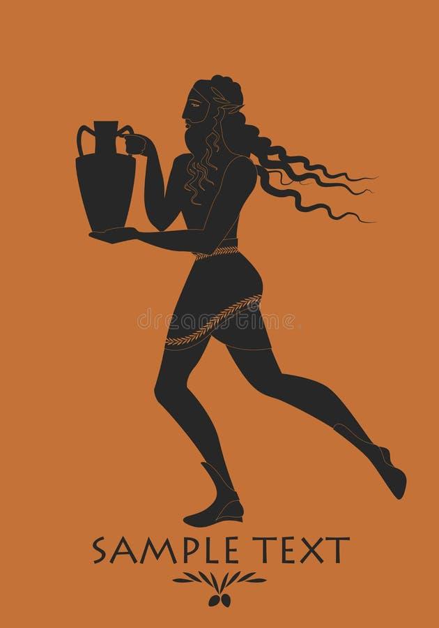 Γενειοφόρο άτομο με το Μάιν στο ύφος του αρχαίου φέρνοντας αμφορέα της Ελλάδας διανυσματική απεικόνιση