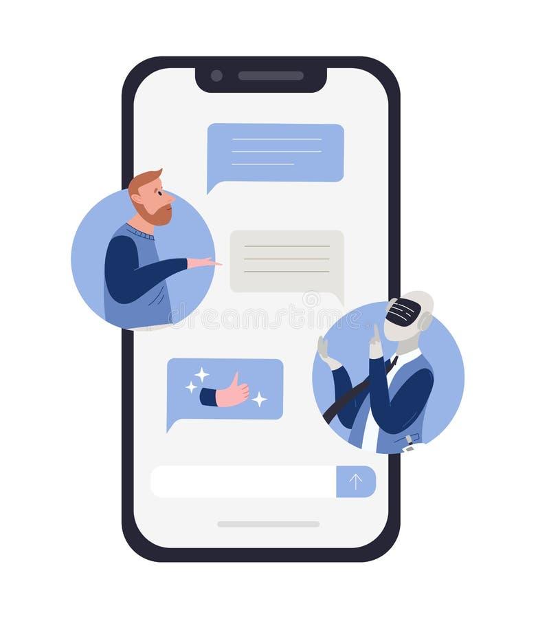 Γενειοφόρο άτομο που μιλά στο ρομπότ ή τα αρρενωπά και μηνύματα συνομιλίας στην οθόνη smartphone Έννοια της συνομιλίας chatbot απεικόνιση αποθεμάτων