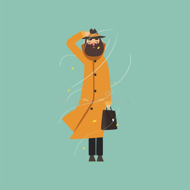 Γενειοφόρο άτομο στο θερμό πορτοκαλί παλτό και καπέλο σε μια πολύ θυελλώδη διανυσματική απεικόνιση ημέρας υπαίθρια διανυσματική απεικόνιση