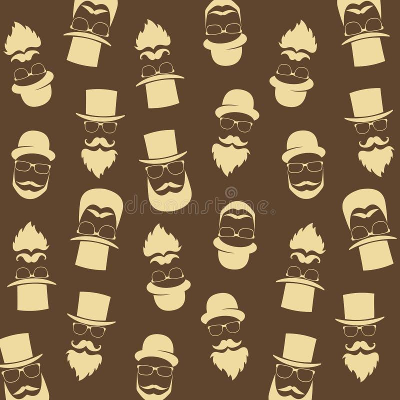 Γενειοφόρο σχέδιο hipster με τα γυαλιά, moustaches, καπέλο κύριος απεικόνιση αποθεμάτων