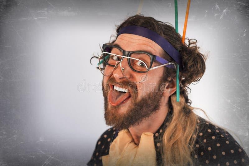 Γενειοφόρο τρελλό πρόσωπο φρενοβλαβές στοκ φωτογραφίες με δικαίωμα ελεύθερης χρήσης