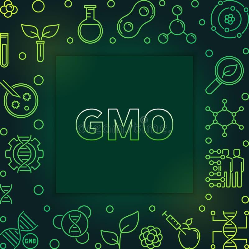 Γενετικά τροποποιημένο πράσινο διανυσματικό πλαίσιο περιλήψεων οργανισμών απεικόνιση αποθεμάτων