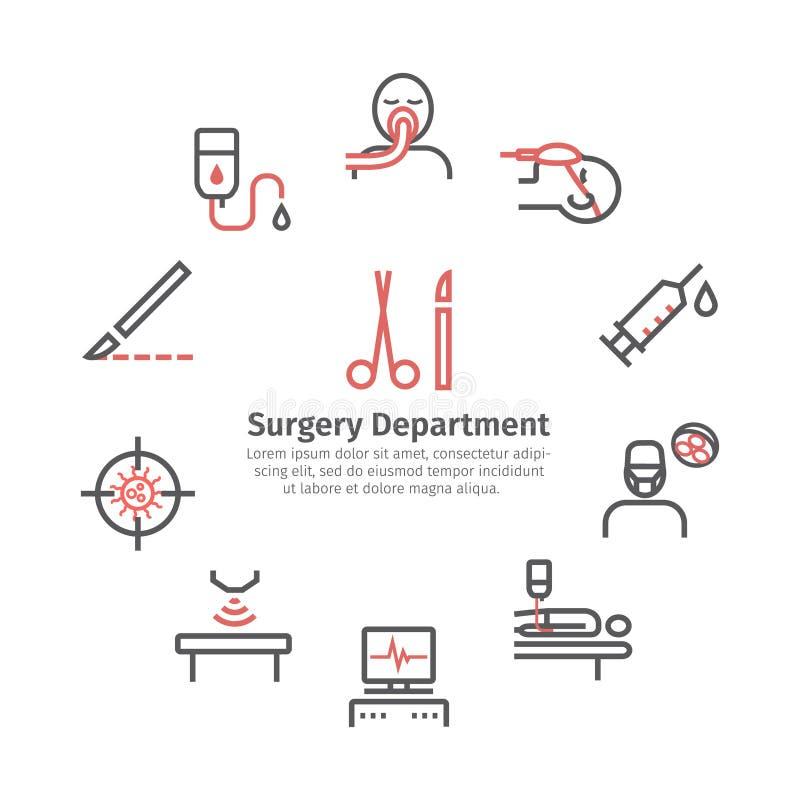 Γενικά εικονίδια γραμμών χειρουργικών επεμβάσεων κύκλος εμβλημάτων Τμήμα νοσοκομείων Κέντρο υγείας Διανυσματικό σημάδι για τη γρα διανυσματική απεικόνιση